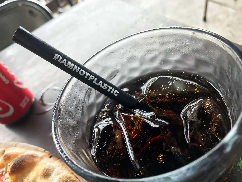 Environment friendly non plastic straw at LaFabbrica in Canggu, Bali - Travel Blog - Screw Them All