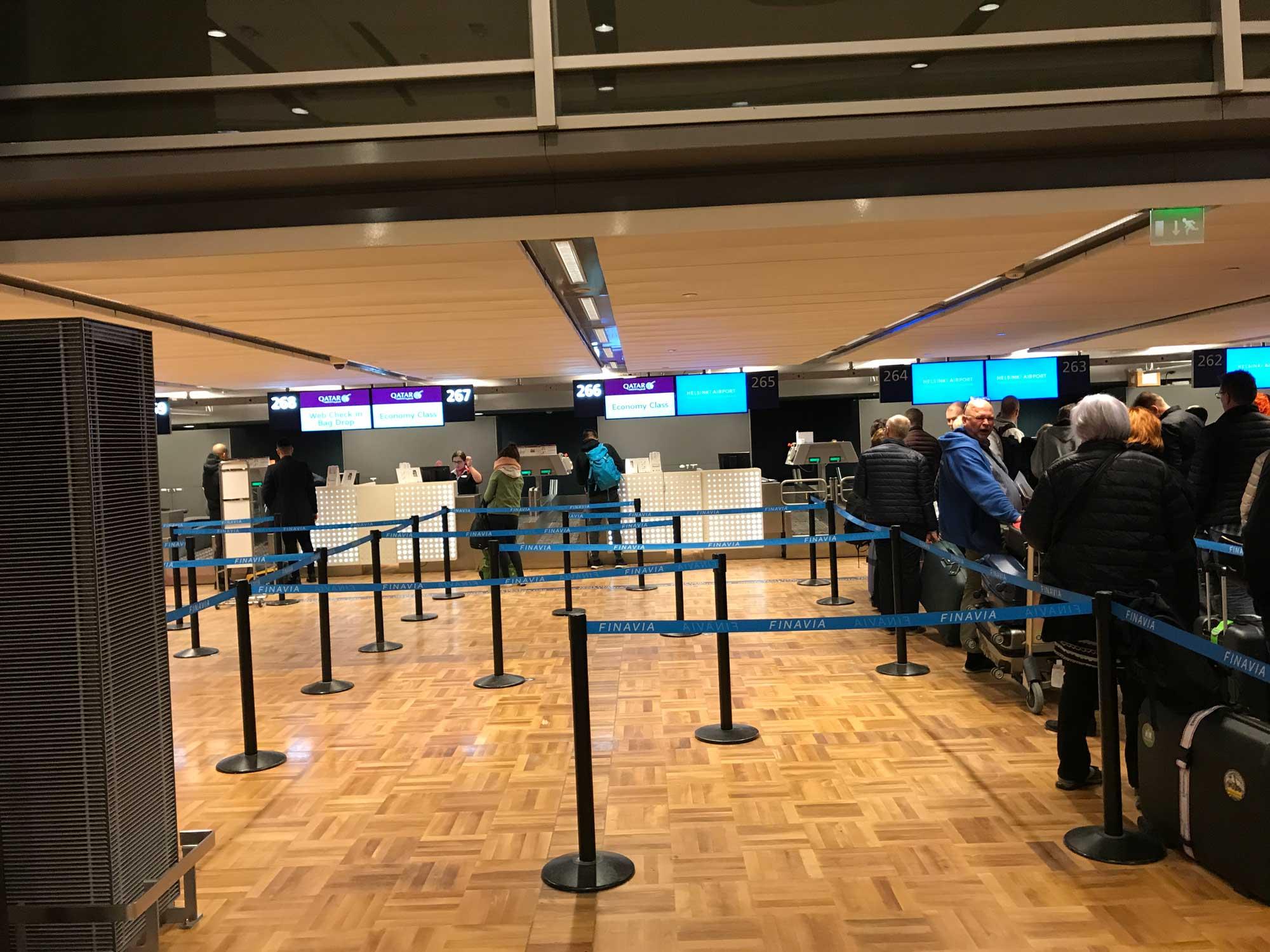Qatar Airways check in at Helsinki HEL airport - Blog - Screw Them All