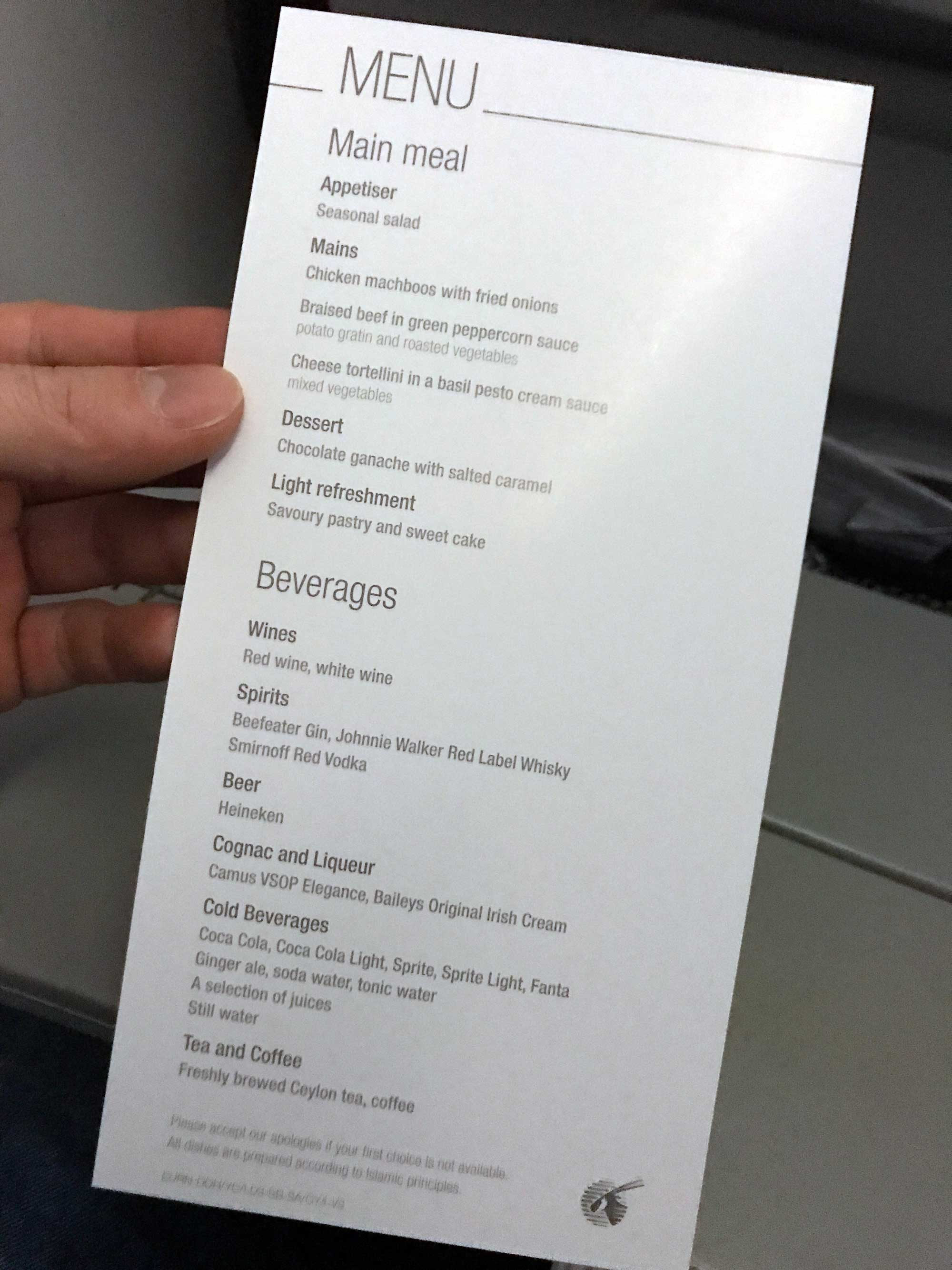 Qatar Airways menu Helsinki to DOHA - Blog - Screw Them All