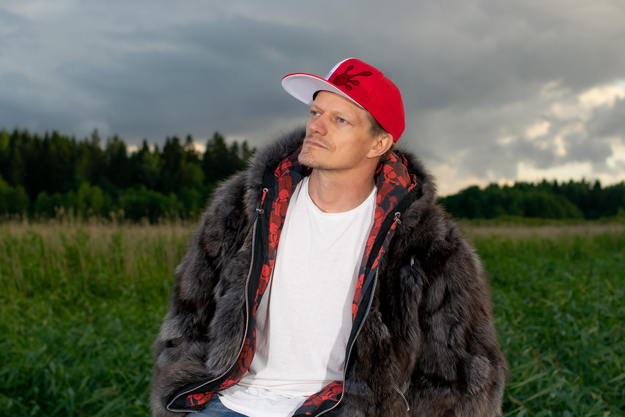 Screw Them All Red&White Snapback hat with fur hoodie from The Hoodie