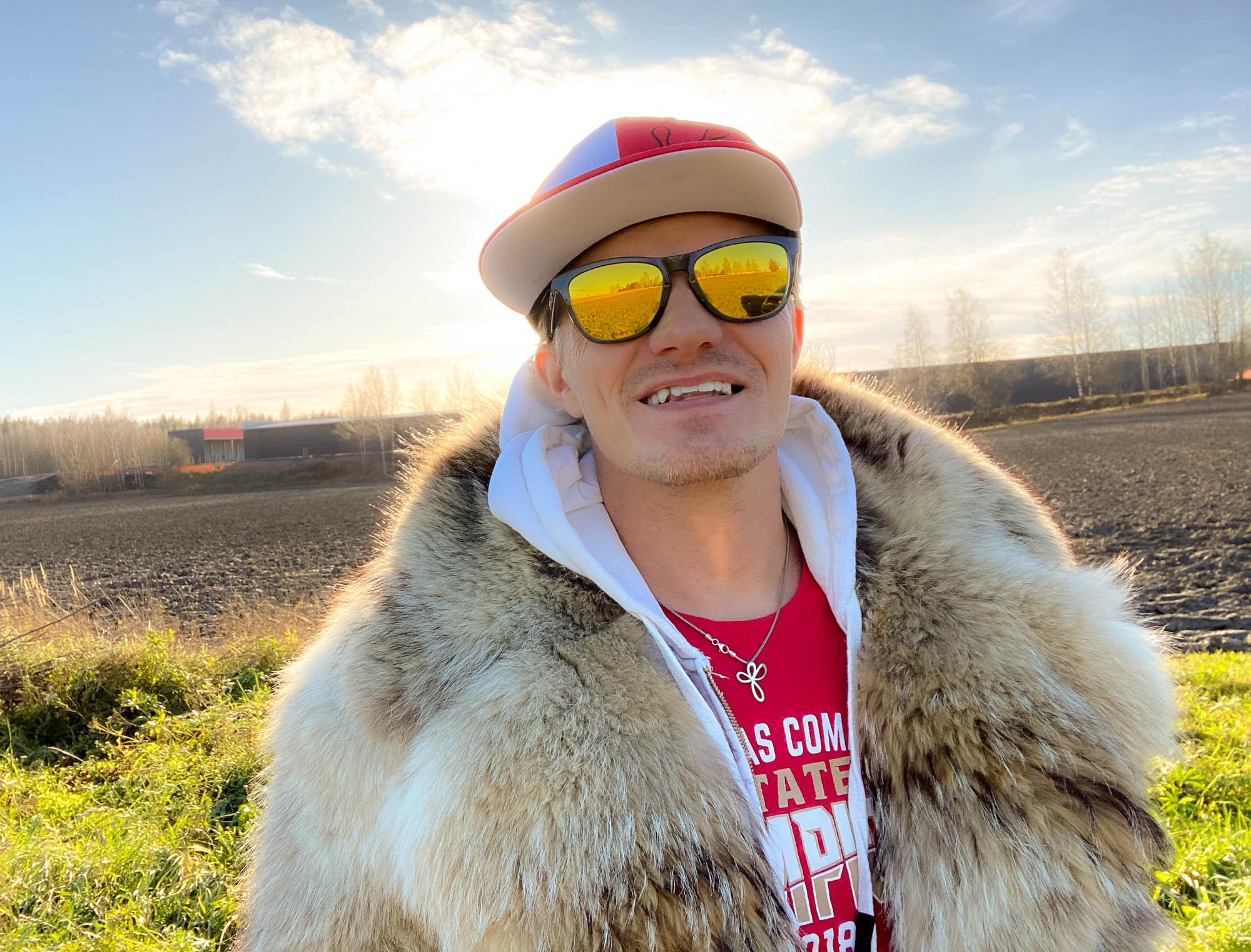 Smiling in the sun in my fur coat
